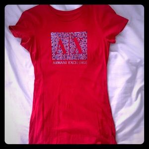 Red Armani Exchange t-shirt, size SM, gently used.